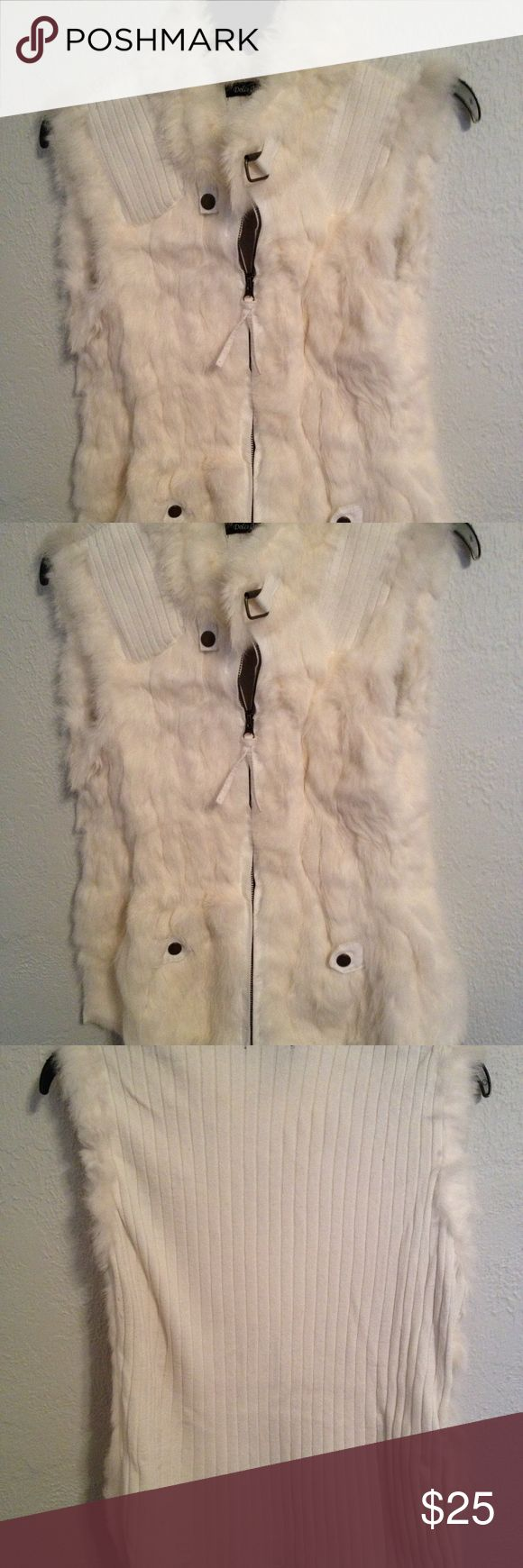 Rabbit Fur Vest w Knit Back Luxurious Rabbit Fur Vest - warm and fashionable with deep pockets and a knit back. Buttons and closures add fine details. Worn once, excellent condition, elegant and cozy with or without jackets. Tag says XL, but fits like a M-L. Dolce Cabo Jackets & Coats Vests
