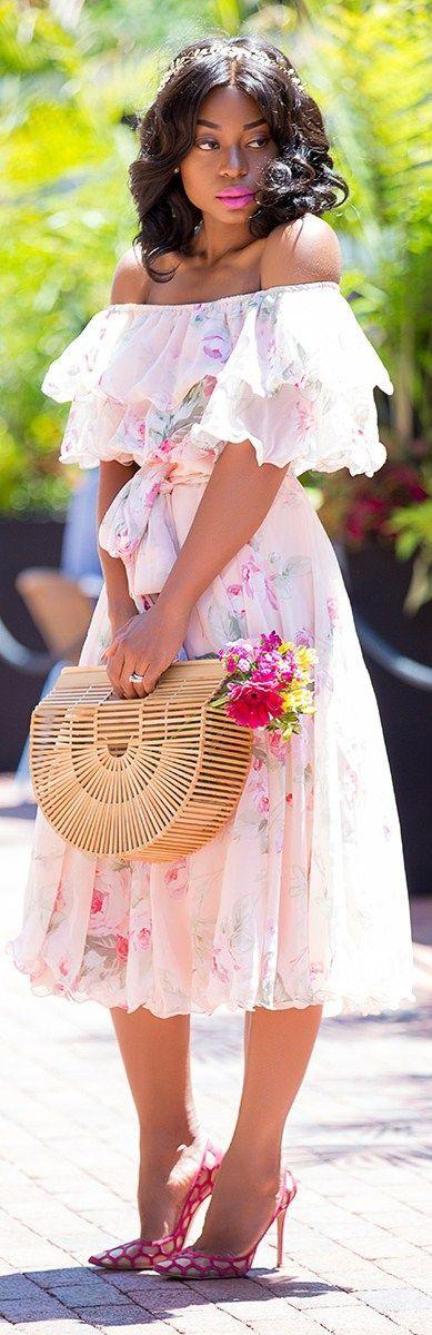 Floral Bardot Dress // Fashion Look by Jadore-Fashion