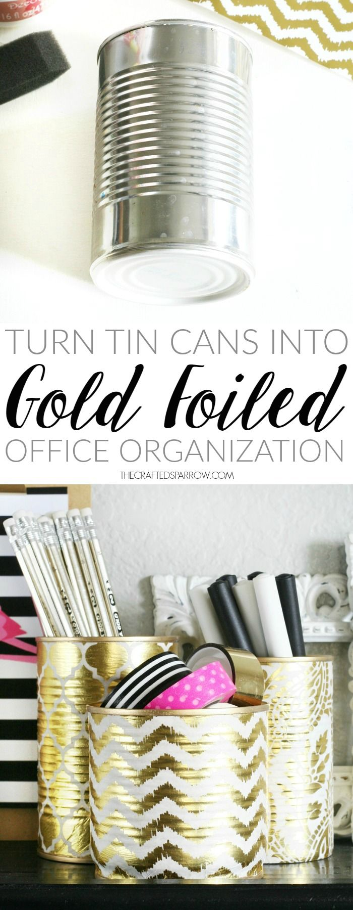 Gold Foiled Tin Can Organizers