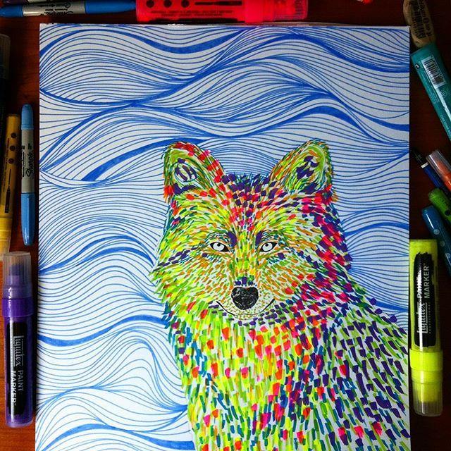 Tropical Wolf  Markers - Bristol Paper -  33,5 x 43,1 cms #ilustracionanimal #katzferoz #wolf #wolfillustration #lobo #ilustracion #illustration #animalillustration #artsharela #linedrawing #liquitex #liquitexpaintmarkers #sharpie #canson #cansonpaper #markerart #artist #artwork #artgallery #art_spotlight #artcollective #bogotart #laart #laartist #losangelesart #colors #homedecor #bogoartistascomparte #culturacolectiva #artpop