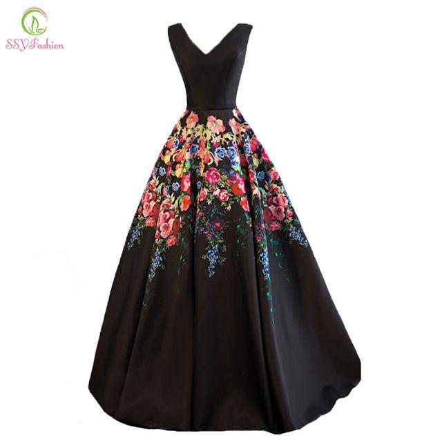 SSYFashion Nueva Negro Retro Impresión de La Flor Negro Satinado Vestido De Noche de La Novia Del Banquete V-cuello Piso-longitud Del Partido de Largo Prom vestidos