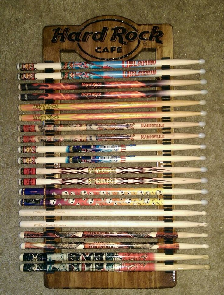 Who wouldn't like a Handmade Drum Stick Holder my son made! Looks good with the Hard Rock drum sticks he collects!