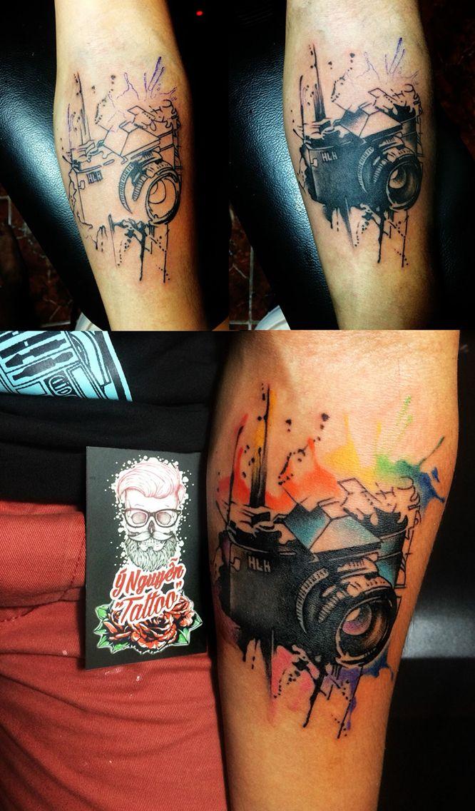 Camera watercolors tattoo  #photographertattoo #ynguyentattoo