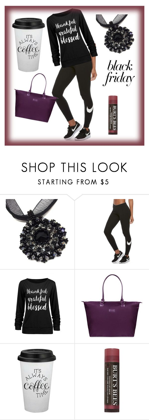 """Get Ready"" by creativeobsession ❤ liked on Polyvore featuring NIKE, Lipault, coffee, jogging, lipbalm, blacknecklace and largebag"