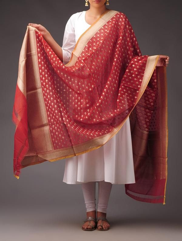 Red-Golden Kora Silk Booti Motif Dupatta Image