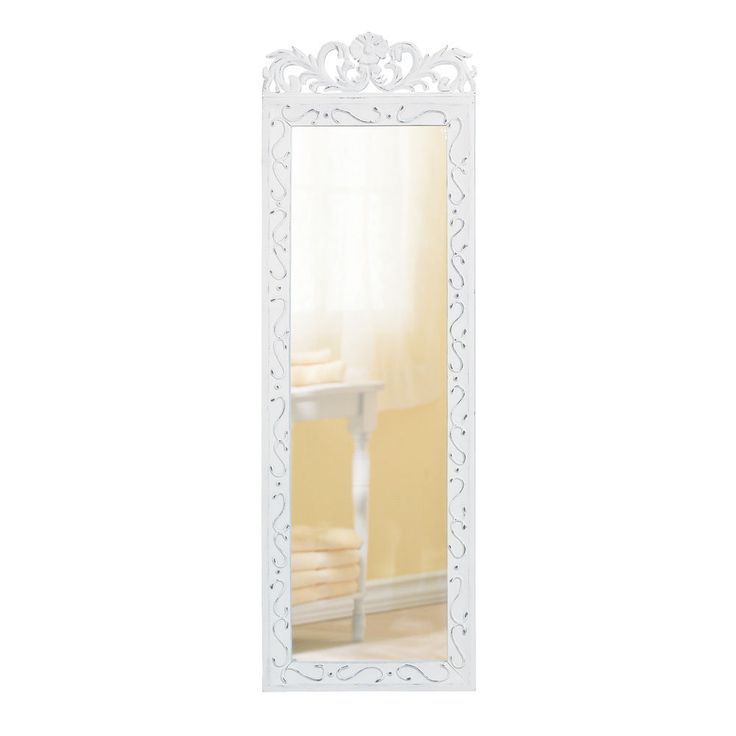 Shabby Chic White Wall Mirror Long Framed Art Home Decor Cottage Floral Crown #HomeLocomotion