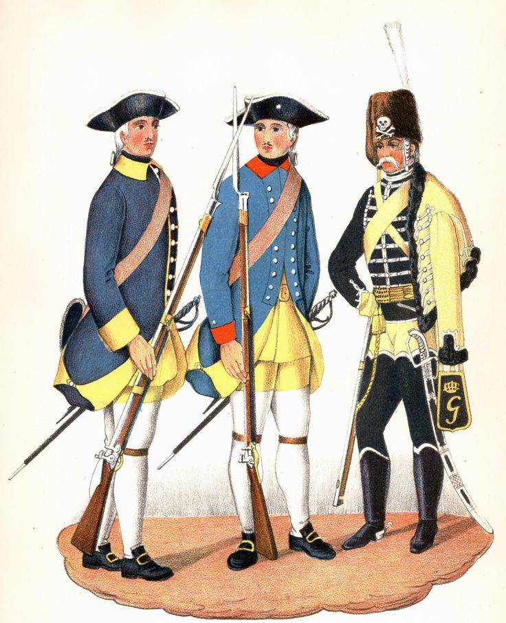 Infantry and a hussar from the Yellow hussars by Adolf Ulrik Schützercrantz