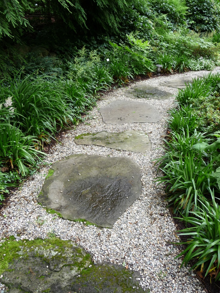 Stepping stones set in pea gravel with steel edging for Gravel garden designs