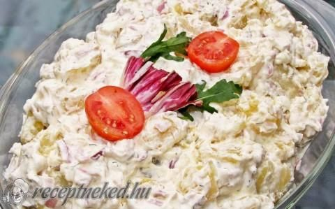 Kapros, lilahagymás krumplisaláta recept fotóval