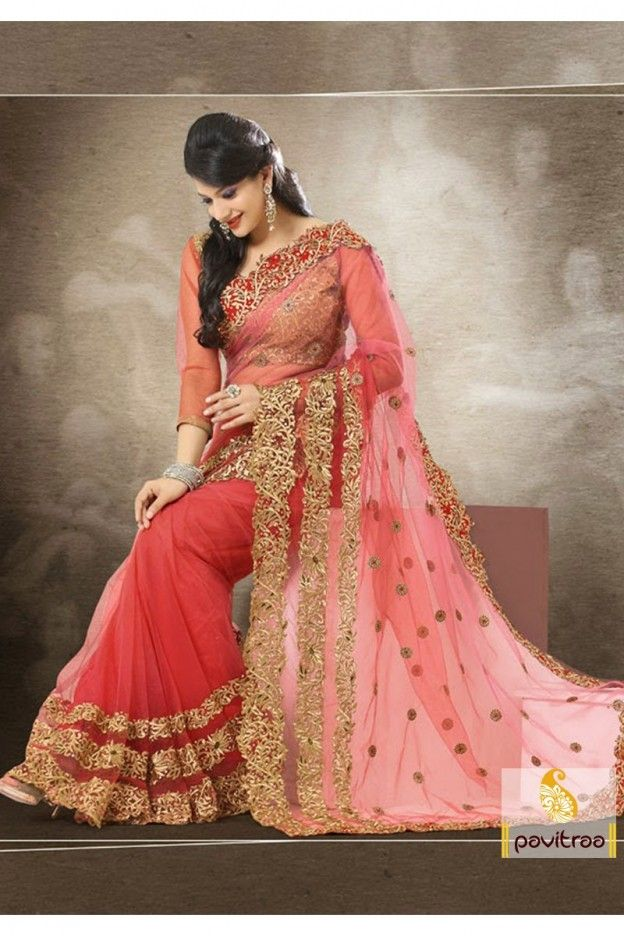 Pink color party wear sarees are adding latest design, net fabrics, fully embroidery cuts border work and unstitched blouse work. This sarees arrive good-look every function.