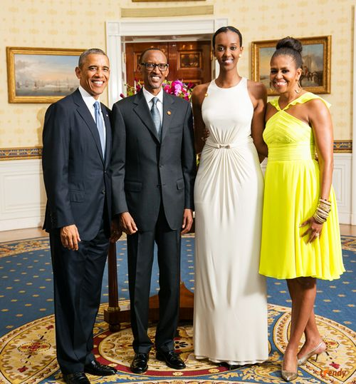 President Barack Obama and First Lady Michelle Obama greet with H.E. Paul Kagame, President of the Republic of Rwanda, and his daughter.