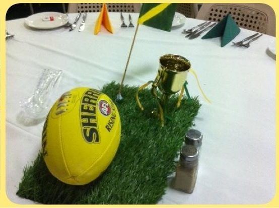 AFL themed table centres for a sporting dinner https://www.facebook.com/WeddingsPartiesAnything?ref=hl