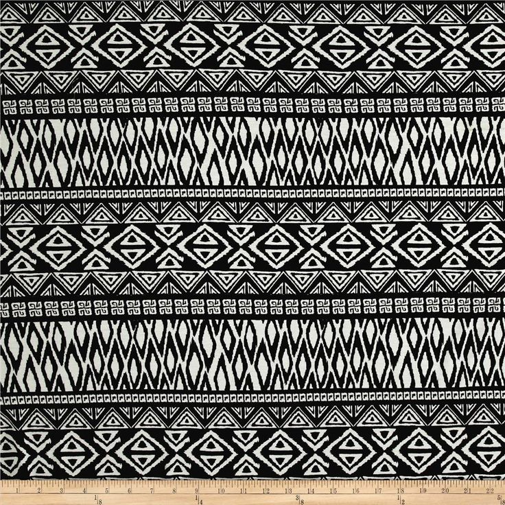 Rayon Spandex Jersey Knit Tribal Triangles Black/White from @fabricdotcom  This versatile lightweight jersey knit fabric features a rayon blend, which creates lovely drape and a smooth hand. With 50% four-way stretch, this knit is perfect for drapey t-shirts, lined knit skirts and dresses, and more!
