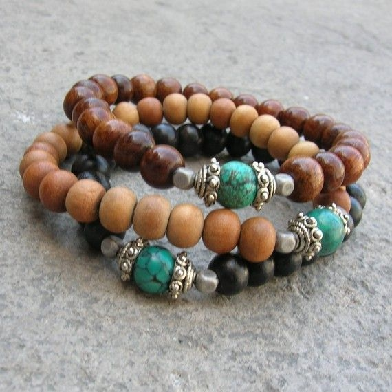 bracelet set ebony, sandalwood and turquoise, by Etsy's saintesmariesjewelry.