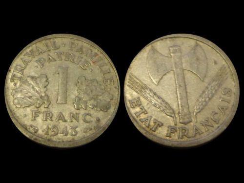 Moneta 1 Franco 1943 Francia - Coin 1 Franc 1943 France - Monnaie 1 Franc 1943