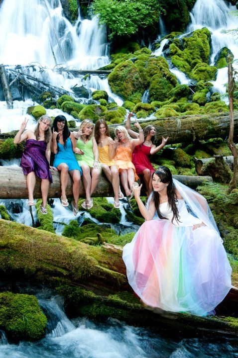 Fairy Tale Rainbow Wedding - Rainbow Dress and Rainbow Bridesmaids
