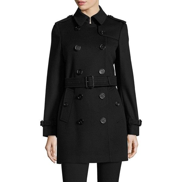 Burberry Kensington Wool & Cashmere Trench Coat ($1,795) ❤ liked on Polyvore featuring outerwear, coats, apparel & accessories, black, double-breasted trench coat, pure cashmere coat, burberry trenchcoat, wool trench coats and burberry