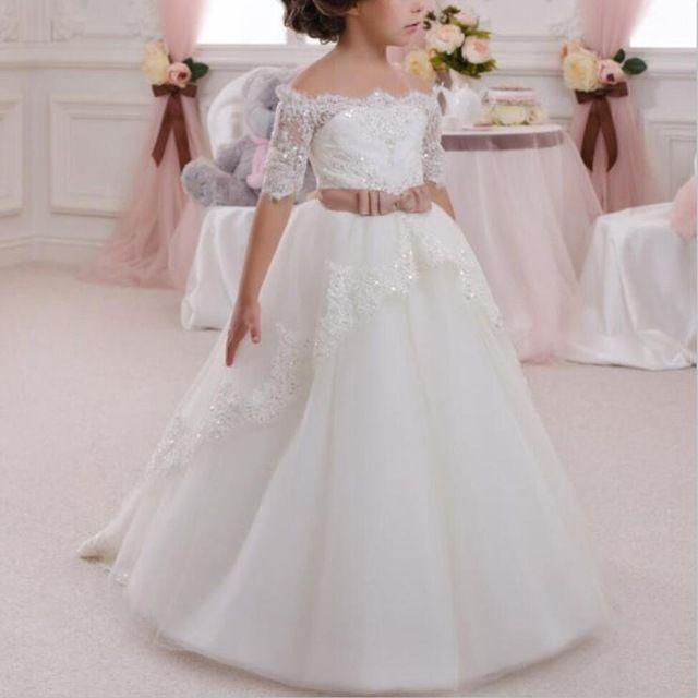 2016 nieuwe bloem meisje jurken halve mouwen sleutelgat boog partij bruiloft optocht communie jurk voor kleine meisjes kids/kinderen jurk