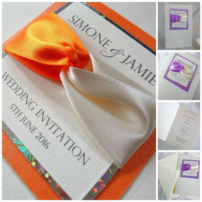 'Ribbon Twist' Wedding Invitations (Orange)
