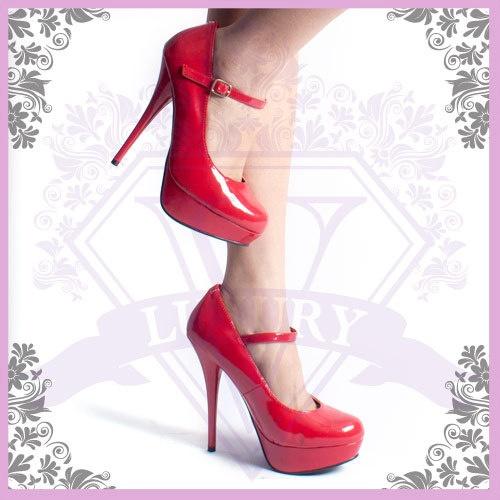 WOMENS SHOES RED STILETTO HIGH HEEL PLATFORM MARY JANE PUMP US GR8! 8