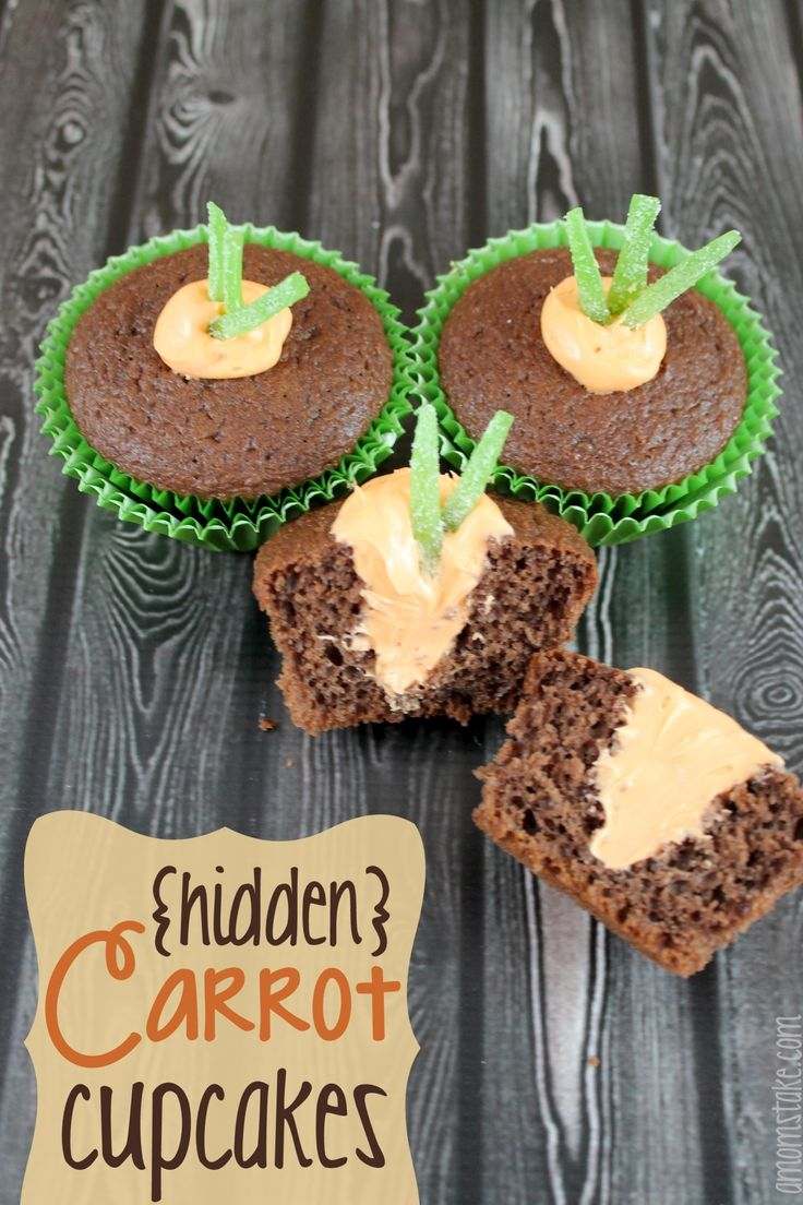 Hidden Carrot #Cupcakes cute for #Easter .#Spring I think i would like to try these cup cakes they look so good and yummy!