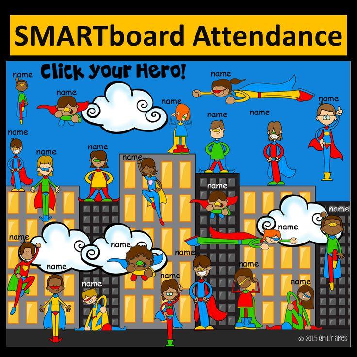 Super Hero SMART board Attendance