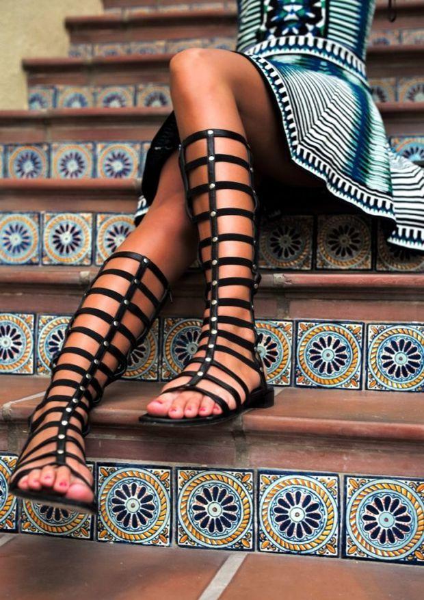 sandales spartiates hautes femme pas cher. Black Bedroom Furniture Sets. Home Design Ideas
