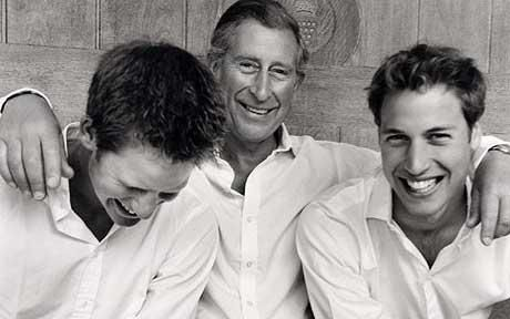 """MONDAY, SEPTEMBER 26, 2011    Mario Testino's """"The Prince of Wales with sons Prince William and Prince Harry"""", 2004"""