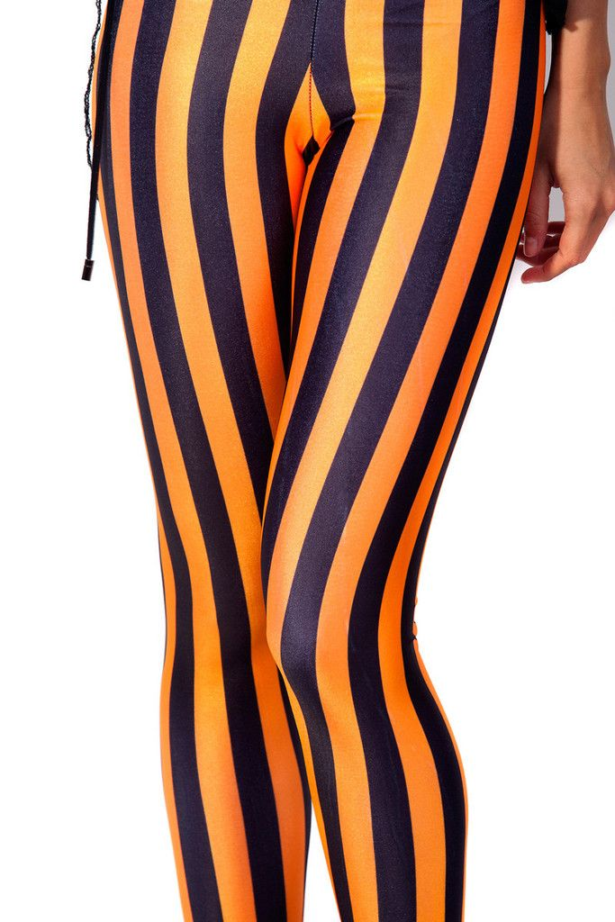 Black Milk Clothing Beetlejuice Neon Orange Leggings L PC