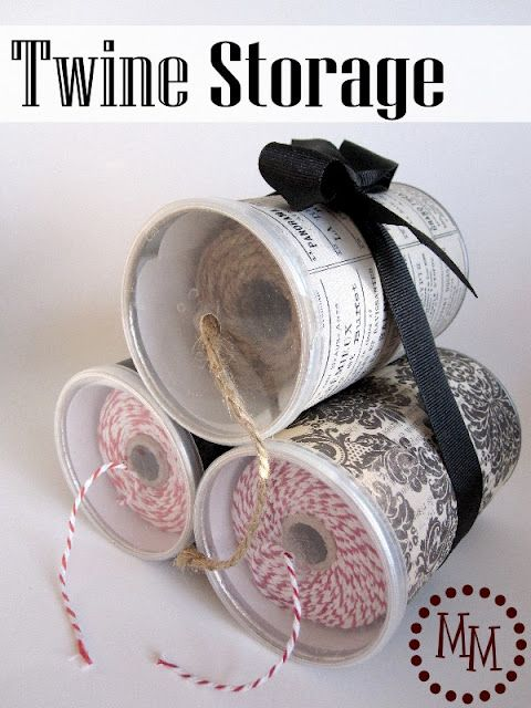 Twine storage made from pringles cans! So genius, from the Scrap Shoppe