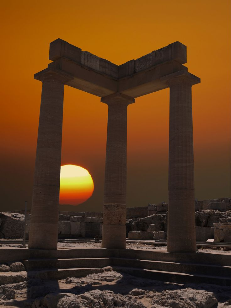 Sunset at the Lindos on the island of Rhodes, Greece