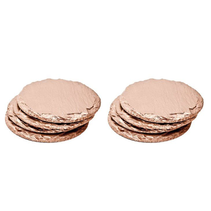 Renee Redesigns Round Rose Gold Slate Coasters (8-Piece Gift Set)