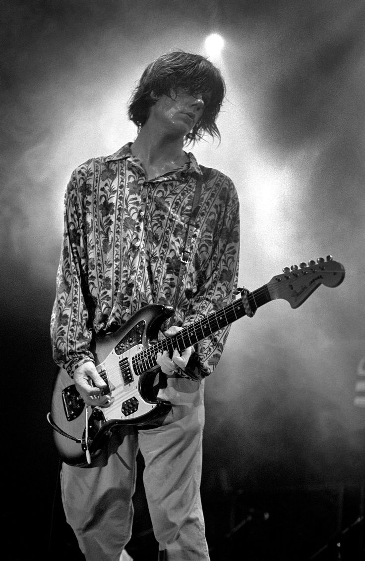 John Squire on stage in Glasgow (photo:  Ian Tilton, 1990)