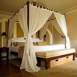 canopy bed with linen sheer curtains will transform your master bedroom or  beach house #canopybed