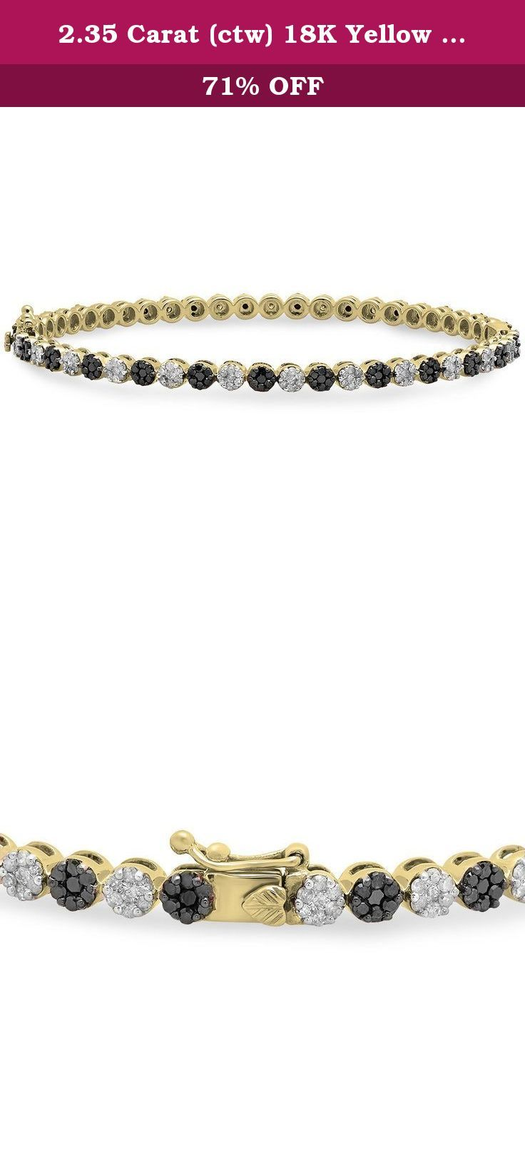 2.35 Carat (ctw) 18K Yellow Gold Black & White Diamond Prong set Ladies Fashion Bangle Bracelet 2 1/3 CT. This lovely diamond bracelet feature 2.35 ct black & white diamonds in prong setting. All diamonds are sparkling and 100% natural. All our products with FREE gift box and 100% Satisfaction guarantee. The Black Diamonds may have one or two small chips and or white spots. The black diamonds in this item are semi-faceted and natural. These black diamonds qualify as rose-cut or diamond...