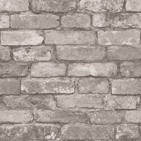 I Love Wallpaper™ Rustic Brick Wallpaper Silver / Grey (ILW980058) - Wallpaper from I love wallpaper UK