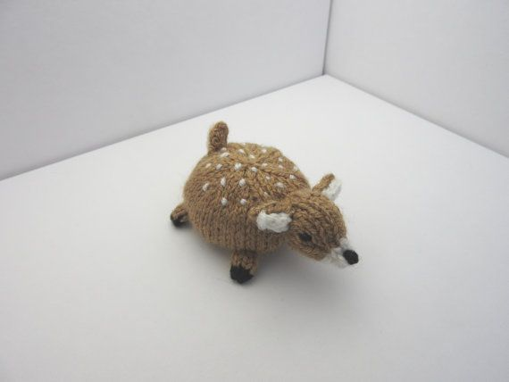 Hand knitted Fawn Pin Cushion Critter, Desk Toy #OOAK