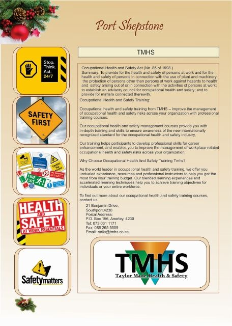 TMHS, Health and Safety Training, Port Shepstone