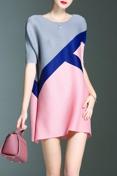 Shyslily Pink Color Block Mini Dress   Mini Dresses at DEZZAL