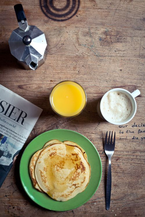 Breakfast -- pancakes, oj, coffee