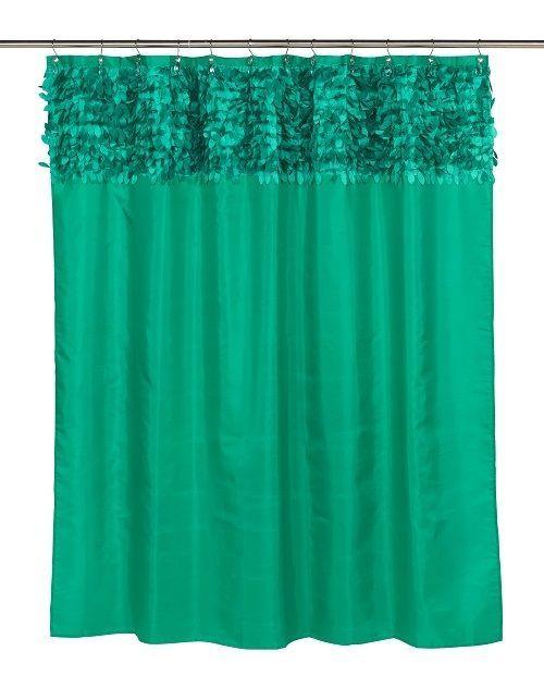 Jasmine Emerald Green 3 Pc Bathroom Set Shower Curtain Tear Drop Hooks Liner Fantastic