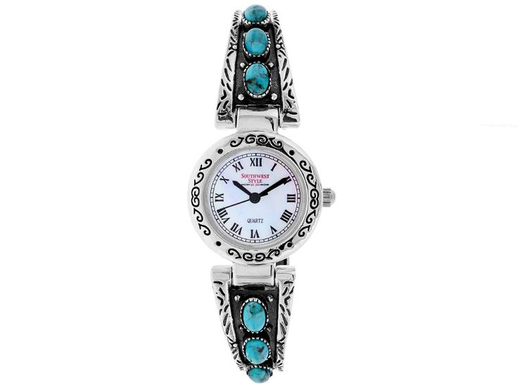 Southwest Style By JTV (TM) Turquoise Mop Dial Sterling Silver Cuff Watch