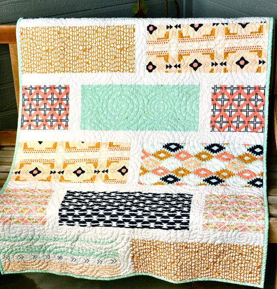 Cute and simple quilt design!   Arizona Modern Baby Quilt Southwest Crib Cot Quilt by biggiwink