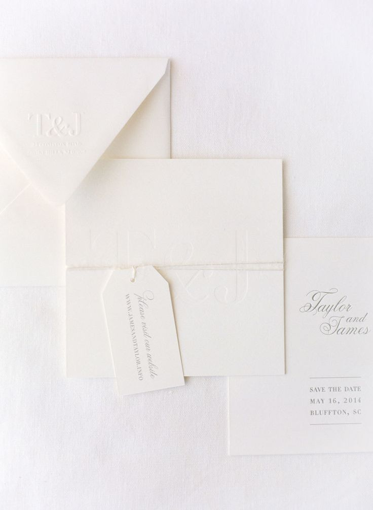 Classic white invitations will never, ever go out of style.   View entire slideshow: Beautiful White Wedding  Details  on http://www.stylemepretty.com/collection/2688/