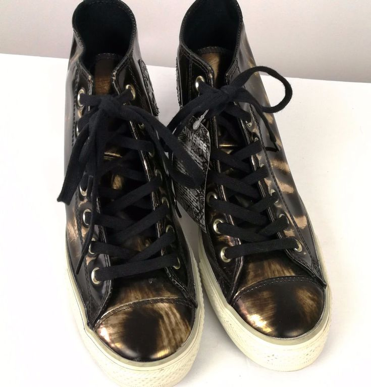 Converse Womans All Stars Sz 10 Runners Antique Gold Black Lace New #Converse #LaceUps #Casual