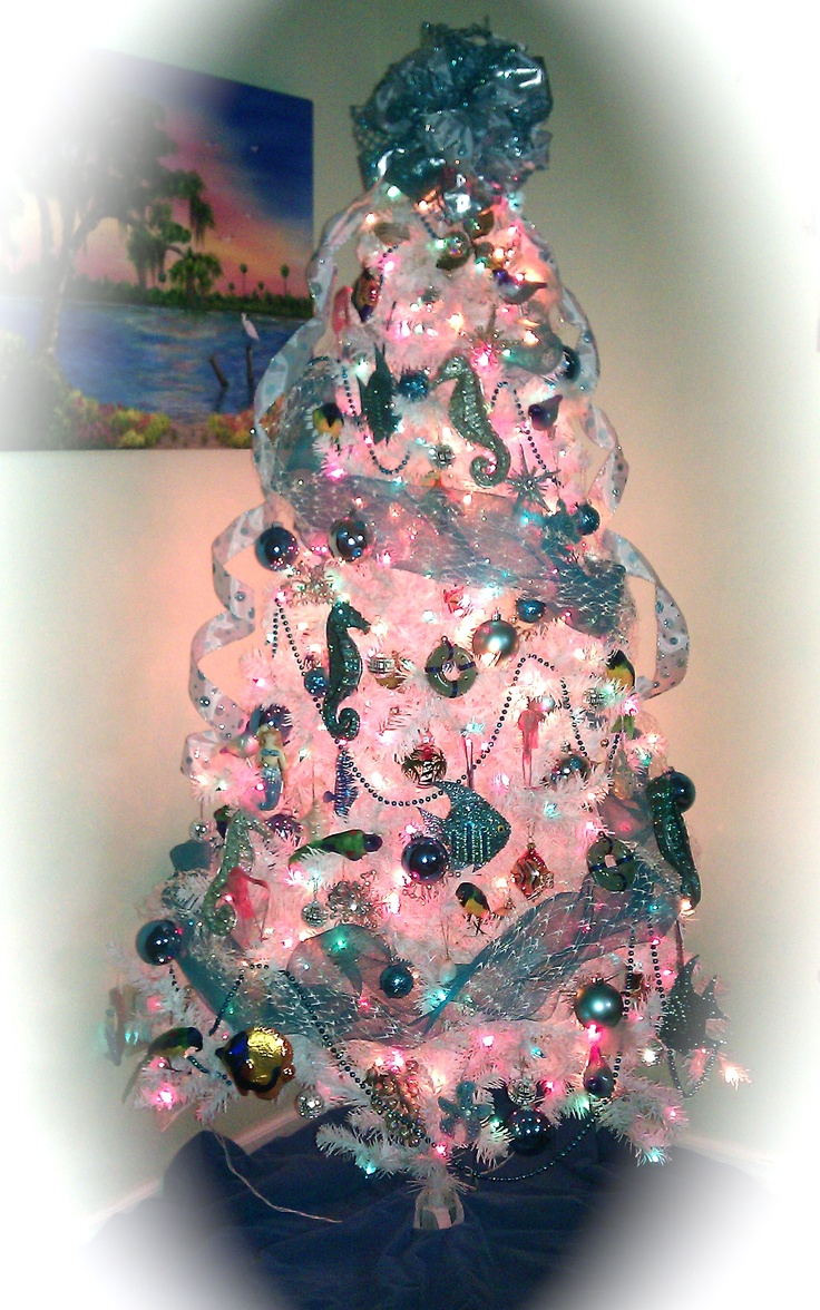 pink blue beach christmas tree repinned from vital outburst clothing