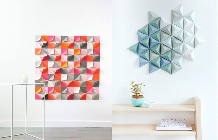 8 ideias incríveis (e super baratas) para decorar a sua parede com dobraduras / esculturas de papel. Com tutorial passo-a-passo!