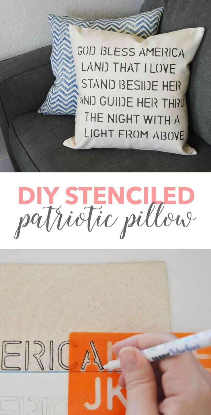 DIY Patriotic Stenciled Pillow Cover 589 best
