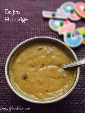 Bajra porridge/Kambu Koozh for babies and toddlers with step by step pictures - healthy porridge made with bajra flour, dates and raisins.