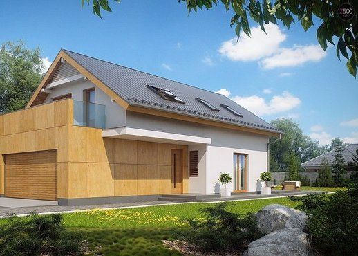 #projekt #dom na wąską działkę, parterowy z poddaszem użytkowym, Z292, Z500